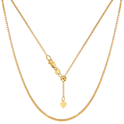 "14k Yellow Gold Adjustable Box Chain Necklace, 1.15mm, 22"" - JewelryAffairs  - 1"