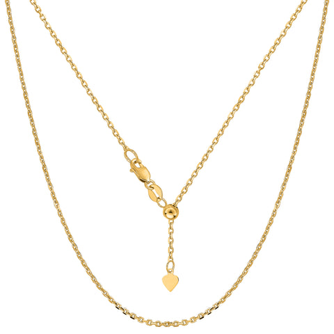 "14k Yellow Gold Adjustable Cable Chain Necklace, 0.9mm, 22"" - JewelryAffairs  - 1"