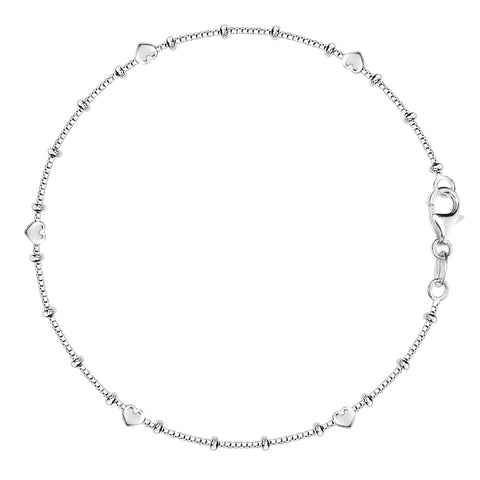Box Chain With Heart Beads Anklet In Sterling Silver