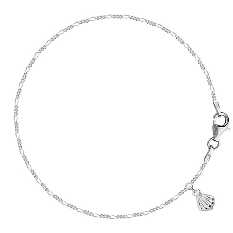 Dangling Sea Shell Figaro Chain Anklet In Sterling Silver