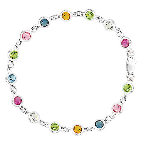 Multi Colored Round Shaped CZ Anklet In Sterling Silver