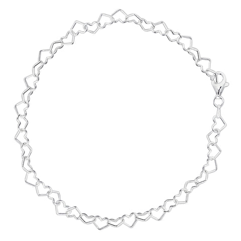 Hearts Link Chain Anklet In Sterling Silver