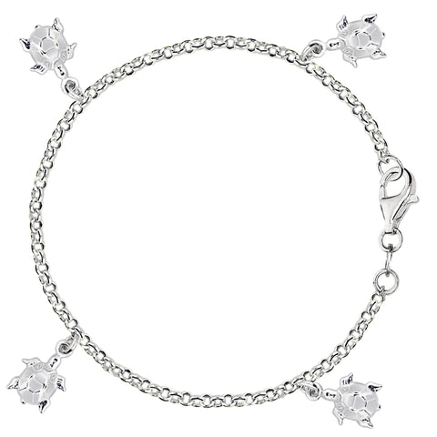 Dangling Turtles Cable Chain Anklet In Sterling Silver