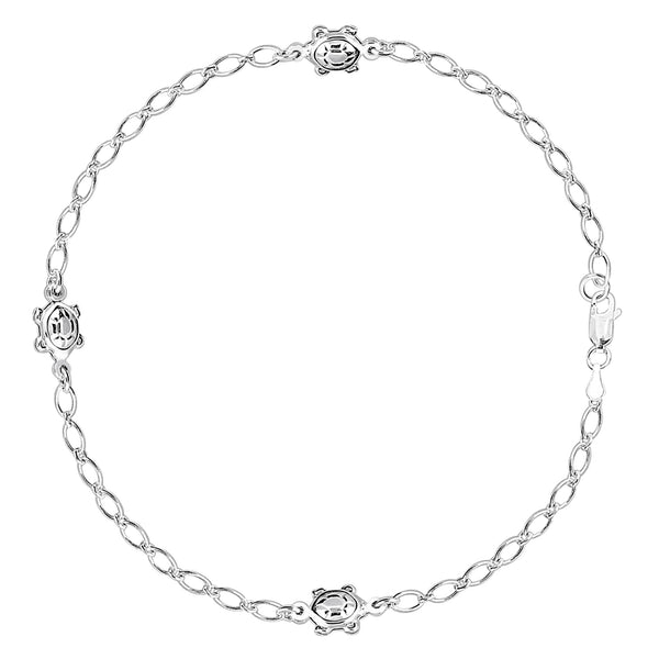 Turtle Fancy Chain Anklet In Sterling Silver