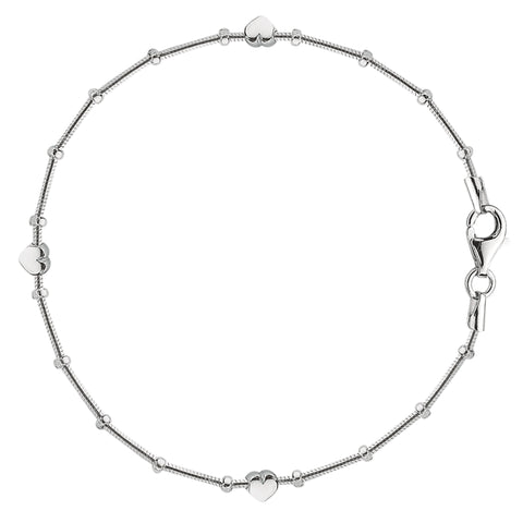 Snake Saturn Style Chain Anklet In Sterling Silver