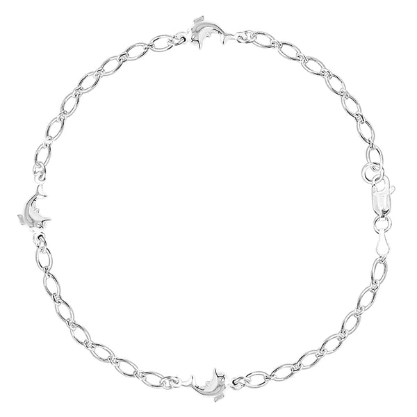 Dolphin Fancy Chain Anklet In Sterling Silver