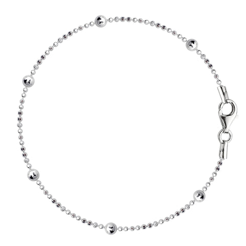 Bead Link Chain Anklet In Sterling Silver
