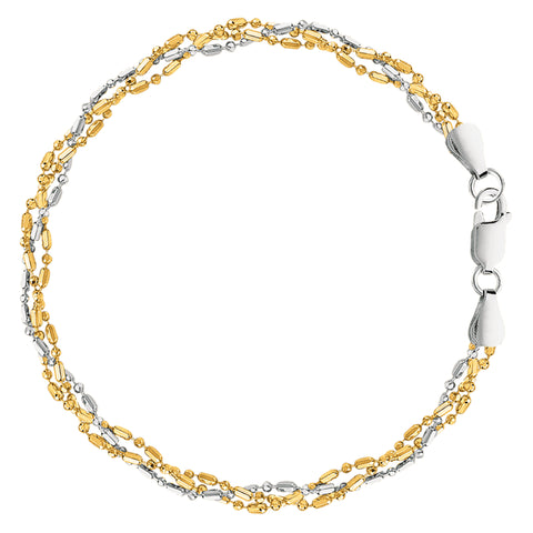 White And Yellow Triple Bead Chain Anklet In Sterling Silver