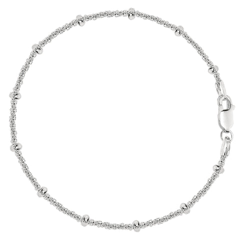 Saturn Style Chain Anklet In Sterling Silver