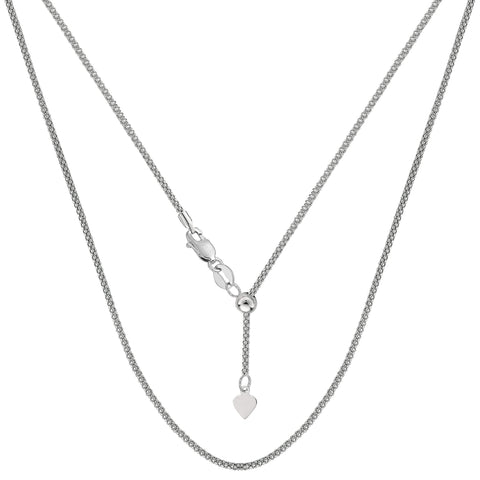 "Sterling Silver Rhodium Plated 22"" Sliding Adjustable Popcorn Chain Necklace, 1.5mm"
