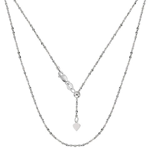 "Sterling Silver Rhodium Plated 22"" Sliding Adjustable Link Chain - Width 1 mm - JewelryAffairs  - 1"