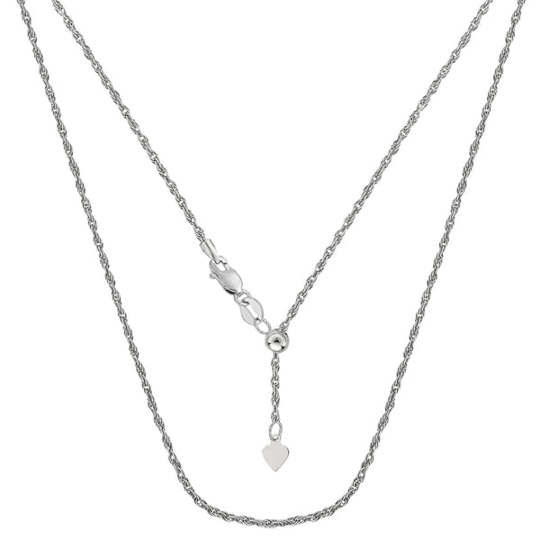 Sterling Silver Rhodium Plated Sliding Adjustable Rope Chain Necklace, 22""