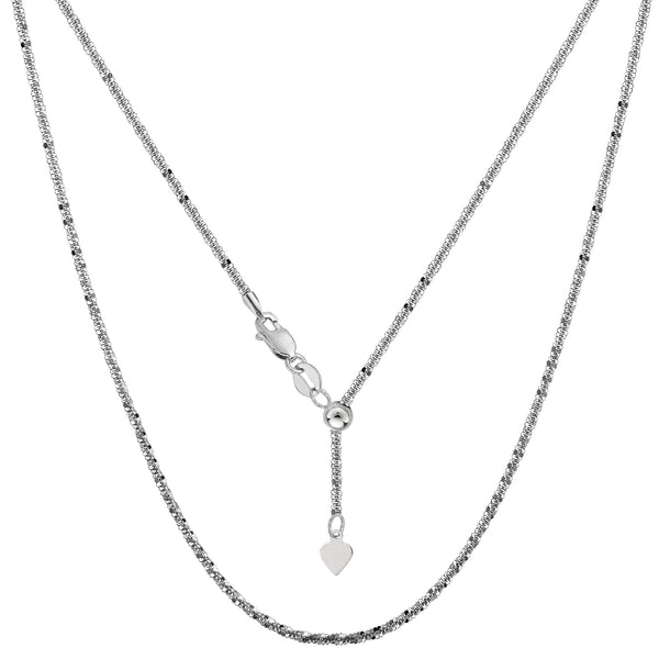 "Sterling Silver Rhodium Plated 22"" Sliding Adjustable Sparkle Chain Necklace, 1.5mm"