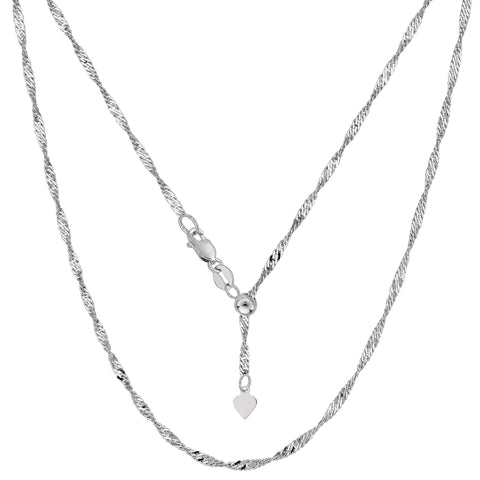 "Sterling Silver Rhodium Plated 22"" Sliding Adjustable Singapore Chain Necklace, 1.5mm"