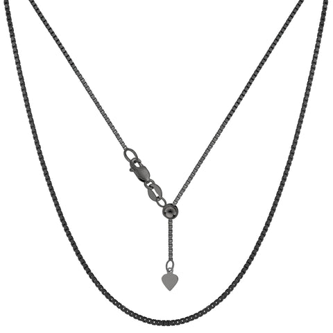 "Sterling Silver Black Ruthenium Plated 22"" Sliding Adjustable Box Chain Necklace, 1.4mm"