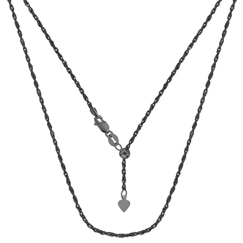 "Sterling Silver Black Ruthenium Plated 22"" Sliding Adjustable Rope Chain Necklace, 1.5mm"