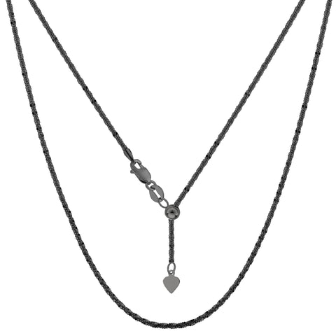"Sterling Silver Black Ruthenium Plated 22"" Sliding Adjustable Sparkle Chain Necklace, 1.5mm"