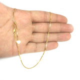 "Sterling Silver Yellow Tone Plated 22"" Sliding Adjustable Box Chain Necklace, 1.4mm"