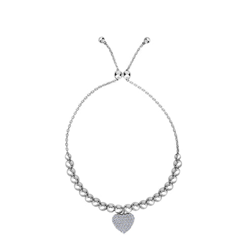 Sterling Silver Beads And CZ Heart Charm Element Adjustable Bolo Friendship Bracelet , 9.25""