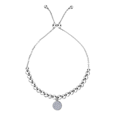 Sterling Silver Beads And CZ Charm Adjustable Bolo Friendship Bracelet , 9.25""