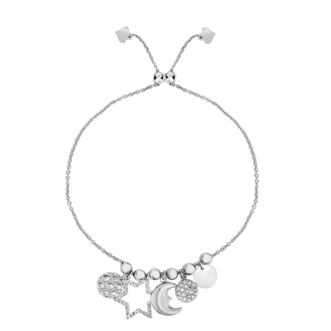Sterling Silver Star Moon And Disc Charm Elements Adjustable Friendship Bracelet , 9.25""