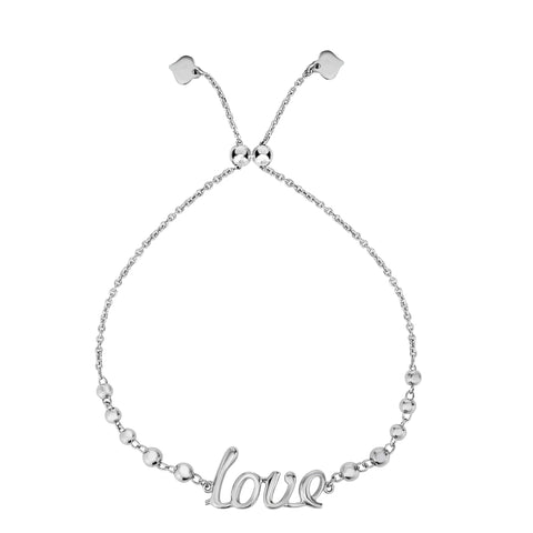 Sterling Silver Love Theme Adjustable Bolo Friendship Bracelet , 9.25""