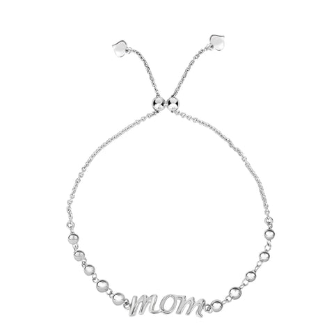 Sterling Silver Mom Theme Adjustable Bolo Friendship Bracelet , 9.25""