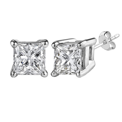 Sterling Silver Rhodium Finish Princess Cut Cubic Zirconia Stud Earring