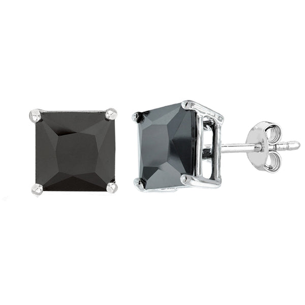 Sterling Silver Rhodium Finish Princess Cut Black Cubic Zirconia Stud Earring