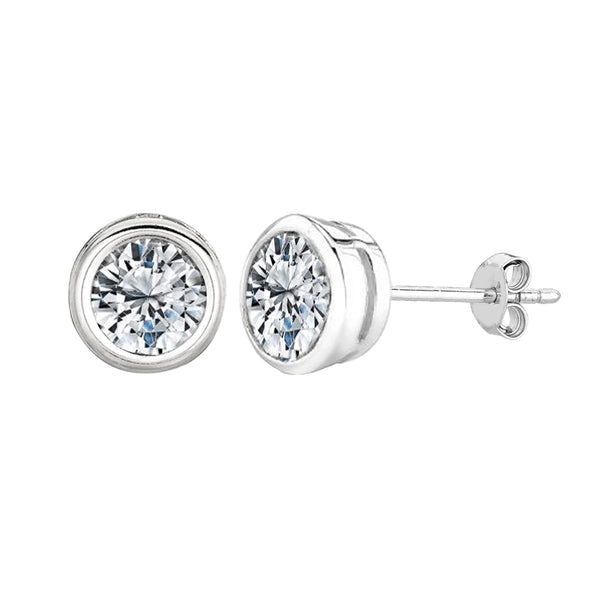 Sterling Silver Rhodium Finish Round Bezel Set Cubic Zirconia Stud Earring