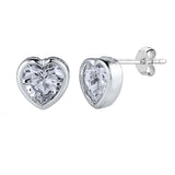 Sterling Silver Rhodium Finish Heart Bezel Set Cubic Zirconia Stud Earring