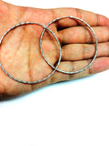 Sterling Silver Rhodium Plated  Round Hoop Earrings