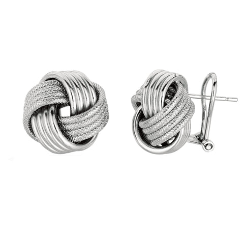 Sterling Silver Rhodium Finish 14mm Shiny And Textured Love Knot Omega back Earrings - JewelryAffairs  - 1