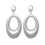 Sterling Silver Rhodium Plated With Brushed Diamond Dust Finish Oval Drop Earrings - JewelryAffairs  - 1