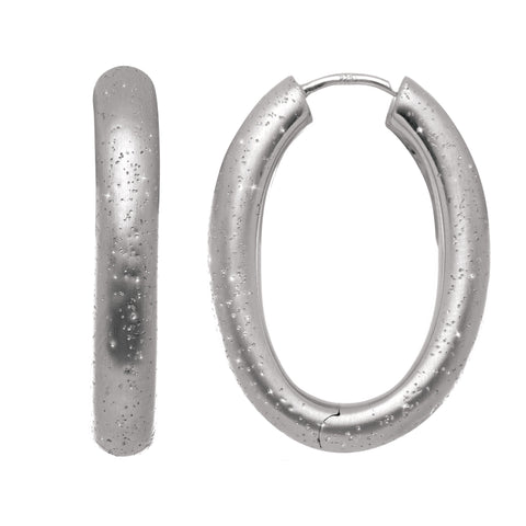 Sterling Silver Rhodium Plated With Brushed Diamond Dust Finish Oval Hoop Earrings - JewelryAffairs  - 1