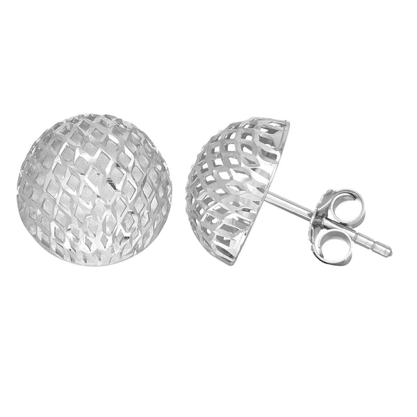 Sterling Silver Rhodium Finish 12mm Mesh Style Semi-Round Button Stud Earring - JewelryAffairs  - 1