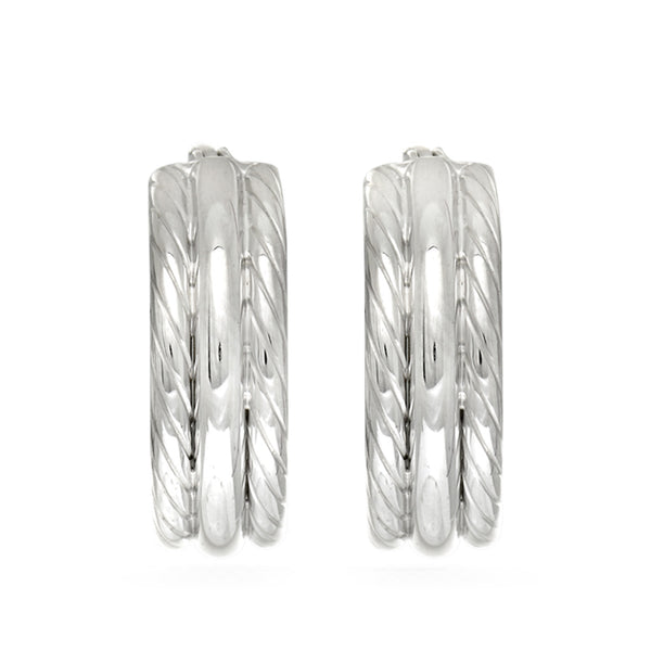 Sterling Silver Rhodium Plated Twisted Tube Round Hoop Earrings, Diameter 15mm