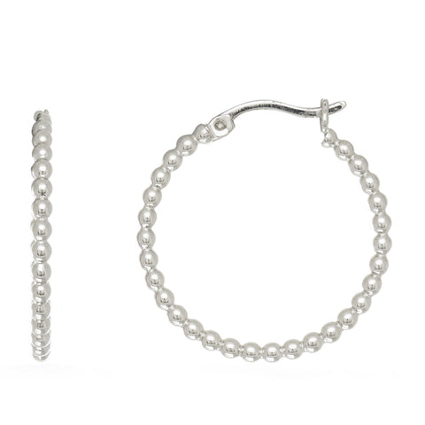 Sterling Silver Rhodium Plated Beaded Tube Round Hoop Earrings