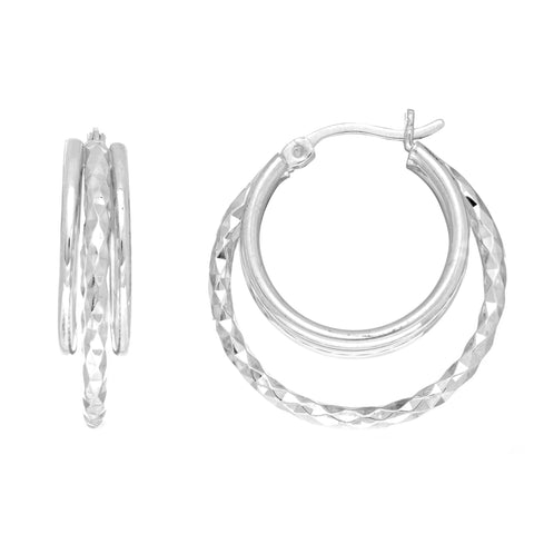 Sterling Silver Rhodium Plated Double Open Circle Round Hoop Earrings, Diameter 25mm