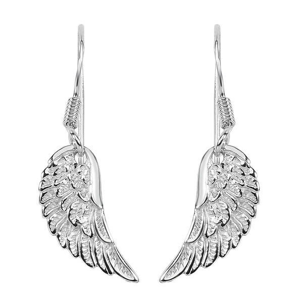 Sterling Silver Angel Wing Dangle Earrings