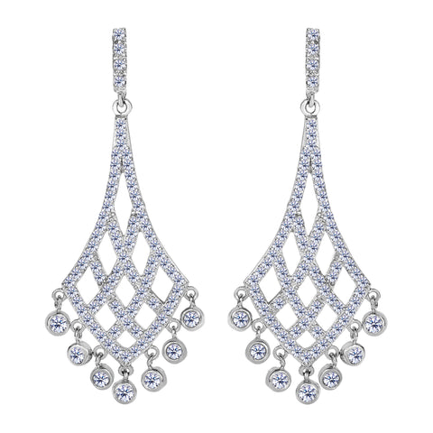 Sterling Silver And Cubic Zirconia Shaped Chandelier Drop Earrings