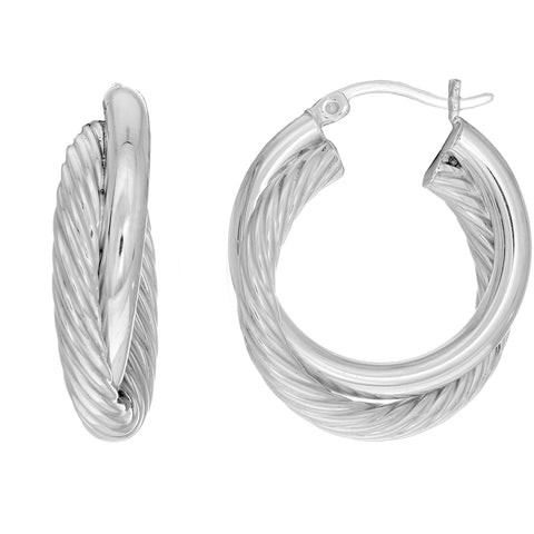 Sterling Silver Rhodium Plated Twisted Cable Double Tube Round Hoop Earrings, Diameter 25mm