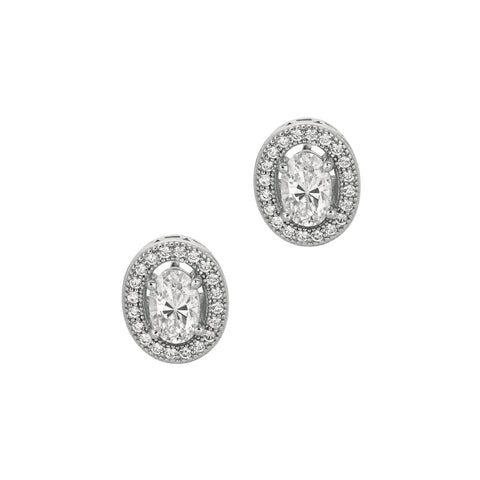 Sterling Silver Open Oval Cubic Zirconia Stud Earrings