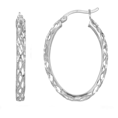Sterling Silver Rhodium Finish Shiny Diamond Cut Weaved Oval Hoop Earrings, Diameter 30mm