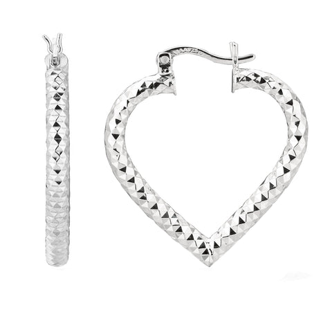 Sterling Silver Rhodium Plated  Heart Shape Hoop Earrings, Diameter 25mm