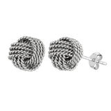 Sterling Silver Rhodium Finish 9mm Twisted Cable Love Knot Earrings - JewelryAffairs  - 1