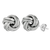 Sterling Silver Rhodium Finish 7mm Shiny And Textured Love Knot Stud Earrings - JewelryAffairs  - 1