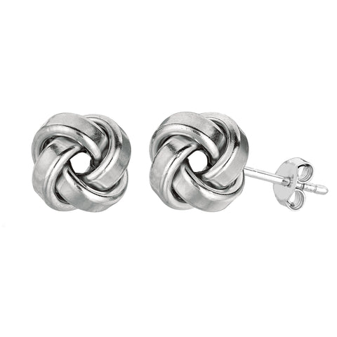 Sterling Silver Rhodium Finish 9mm Shiny Love Knot Stud Earrings - JewelryAffairs  - 1