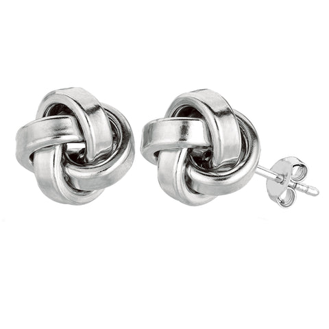 Sterling Silver Rhodium Finish 10mm Shiny Love Knot Stud Earrings