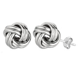 Sterling Silver Rhodium Finish 13mm Shiny Love Knot Stud Earrings